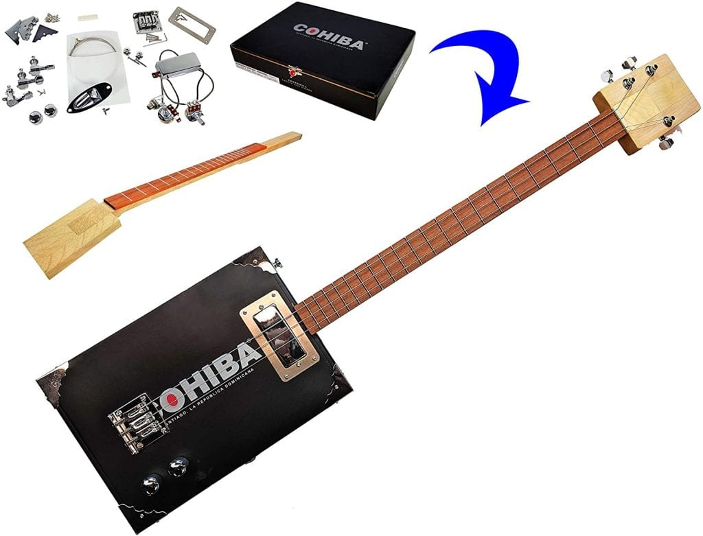 The Chicago Premium Electric 3 String Cigar Box Guitar Kit